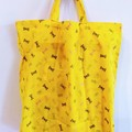 foldable eco bag + scrunchie set / YELLOW - Butterfly / gift for her /