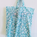 Foldable eco tote / AQUA - Botanical Flower