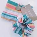 foldable eco bag + scrunchie set / PASTEL COLOUR - Stripe / gift for her / gift