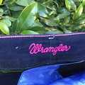 WRANGLER Black Denim Tote Bag UPCYCLED From Jeans Blue Lining 50cm x 43cm