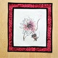 Embroidered art flower and quilted wall hanging, pink,  brown floral art quilt