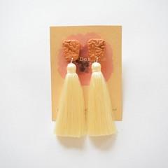 Bronze & beige tassel earrings