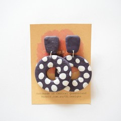 Navy & White polymer clay earrings
