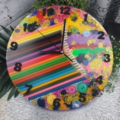 Tick Tock - Colour me Happy Buttons Resin clock - silent motion