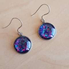 Party glitter earrings - pink, blue and purple