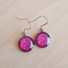 Pink spotty earrings