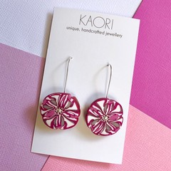 Polymer clay earrings, statement earrings in magenta floral