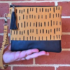 Strike That  - Wristlet with leather accent