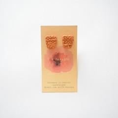 Embossed oblong polymer clay stud earrings