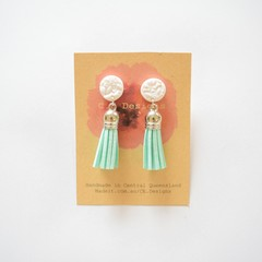 Assorted leather tassel polymer clay earrings