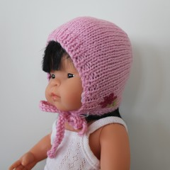 Miniland Pink Dolls Bonnet - size 38 cm - hand knitted in pure wool