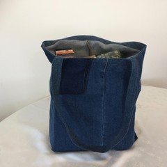 Grocery Shopping Bag UPCYCLED Denim From Jeans W47cm x L36cm