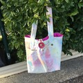 Yellow Denim Wash Tote Bag UPCYCLED From Jeans Pink Lining 45cm x 44cm