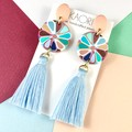 Handcrafted polymer clay earrings in turquoise blue floral