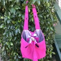 Pink Denim Tote Bag UPCYCLED From Jeans Silver Lining  48cm x  45cm