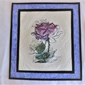 Embroidered art flower and quilted wall hanging, pink, lilac floral art quilt