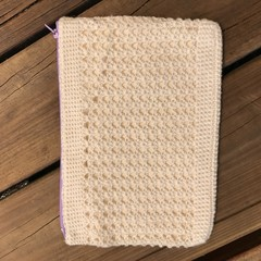 Crocheted Clutch / Purse with Lavender zip