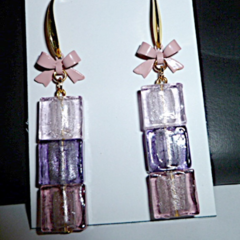 Stacked glass earrings