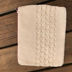 Crocheted Clutch/Purse with Pink Zip