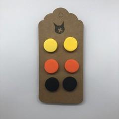 Trio of Polymer Clay Stud Halloween Earrings Black Yellow Orange