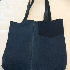 Grocery Shopping Bag UPCYCLED Denim From Jeans 45cm x 40cm