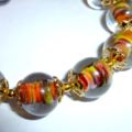 Clear and coloured glass bracelet