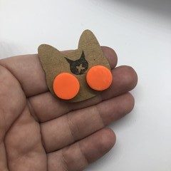 Orange Polymer Clay Stud Halloween Earrings