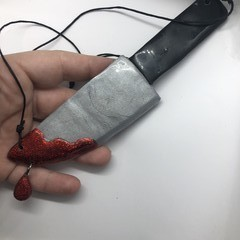 """Stabby"" Knife Polymer Clay And Resin Halloween Statement Necklace"