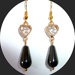 Hematite and Cubic zirconia earrings