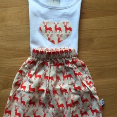 Girls Christmas Skirt and Tee Set - Red Reindeer