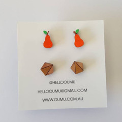 OUMU hand painted pear and pentagon wood earrings, accessories, accessory, handm