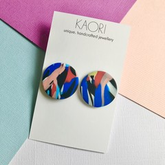 Polymer clay earrings, statement studs in blue and red colour splash