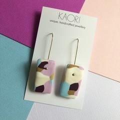 Polymer clay earrings, statement earrings in pastel