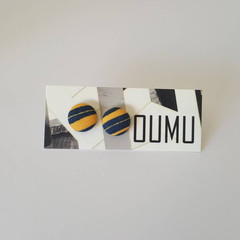 OUMU stripes print fabric button covered earrings, fabric covered earrings, 12mm