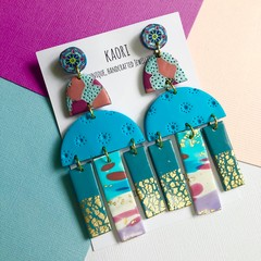 Super statement polymer clay earrings, in pink and turquoise