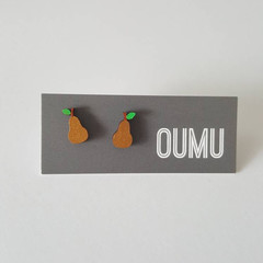 OUMU hand painted gold pear wood earrings, accessories, accessory, handmade gift