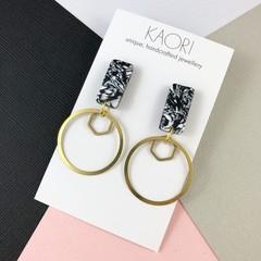 Polymer clay earrings, statement earrings in monochrome brass