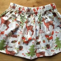 Girls Christmas Skirt - Woodland Christmas