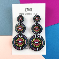 Polymer clay earrings, statement  earrings in hot pink, yellow, blue and black