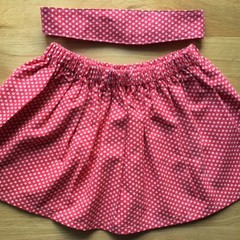 Girls Christmas Skirt and Headband Set - Stars