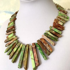 Earthty tone & Green SEA SEDIMENT JASPER Stunning Tribal Necklace.