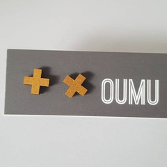 OUMU hand painted cross or plus sign wood earrings, accessories, accessory, hand
