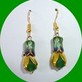 Emerald, gold and enamel earrrings