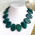 Blue Cyan Genuine CHRYSOCOLLA, Large Oval Gemstones, Handmade Knotted  Necklace.