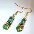Emerald, gold and enamel earrrings