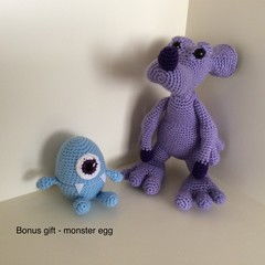 Friendly Monster - Purple Crocheted + Monster Egg Bonus