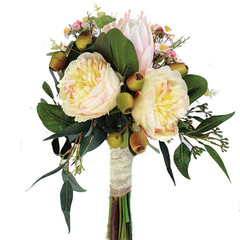 Australian Native Bridal Bouquet with Champagne Peonies & Pink Native Flowers