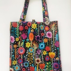 Fold up shopping tote bag – bright garden flowers