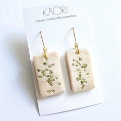 Polymer clay earrings, statement earrings in Blush gold