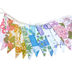 Vintage Bunting Retro Rainbow Floral Flags. Multi-Colour Home Decoration